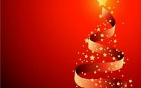 圣诞树形飘带矢量素材免费下载