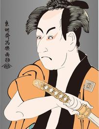 拔剑的日本男人图[ 矢量图. AI]