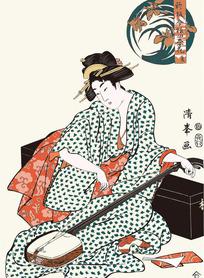 弹唱的日本女人图片[ 矢量图. AI]