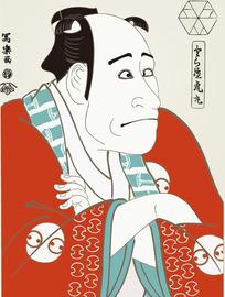 瞪眼的日本男人图[ 矢量图. AI]