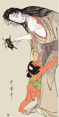 和小孩玩的日本女人图片[ 矢量图. AI]