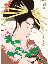剪花的日本女人图片[ 矢量图. AI]