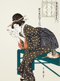 看书的日本美女[ 矢量图. AI]