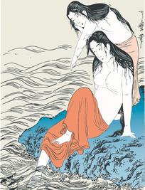 两个在河边洗澡的日本美人[ 矢量图. AI]