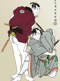 两人手拿双剑比武的日本武士图[ 矢量图. AI]