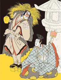拿茶壶的日本男人图[ 矢量图. AI]