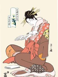 认真学习的日本女人图片[ 矢量图. AI]