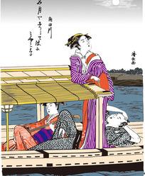 日本男人和两个日本女人在船上的图片[ 矢量图. AI]
