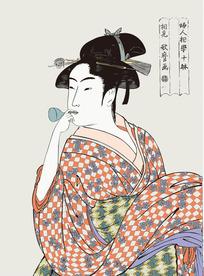 日本女人图[ 矢量图. AI]