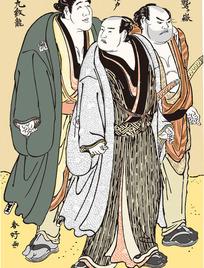 三个日本武士人物图[ 矢量图. AI]