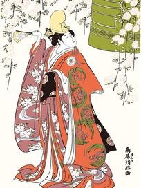 手拿扇日本女人图片[ 矢量图. AI]