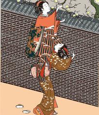 树上摘花两个日本女人图片[ 矢量图. AI]