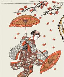跳舞的日本女人图片[ 矢量图. AI]