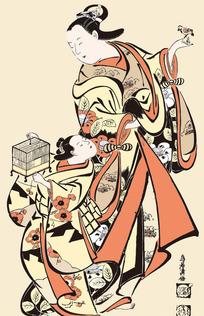 玩鸟的日本母子图片[ 矢量图. AI]