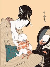 喂小孩奶的日本女人图片[ 矢量图. AI]