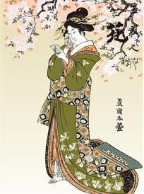 照镜子的日本女人图[ 矢量图. AI]