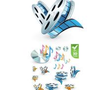 3D音频视频图标矢量素材