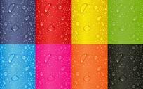 彩色背景上的水滴水珠矢量图免费下载