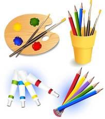 彩色铅笔-绘画颜料-调色板矢量图