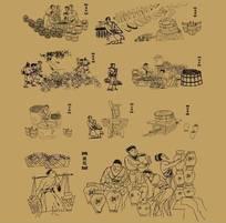矢量古代酿酒工艺流程图