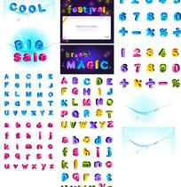 可爱彩色立体字母和数字矢量