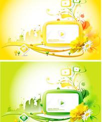 时尚电视和花纹边框