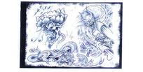恶魔手绘草稿纹身图案