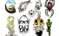 海豚手绘纹身图案