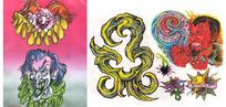 恐怖小丑手绘纹身图案