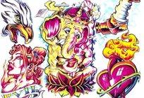 辣妹彩色手绘纹身图案