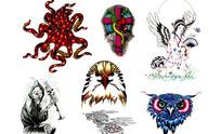 猫头鹰手绘纹身图案