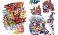欧美游乐场主题手绘纹身图案