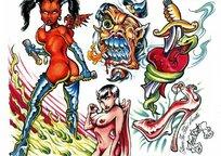 全裸美女彩色手绘纹身图案