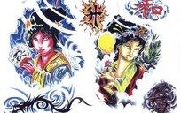 日本歌妓彩色手绘纹身图案