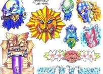 神像造型彩色手绘纹身图案