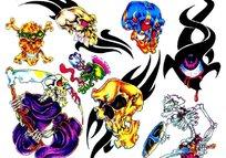 死神骷髅彩色手绘纹身图案