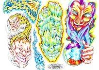 巫婆巫师彩色手绘纹身图案
