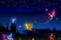 夜晚湖畔蝴蝶精灵