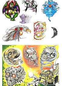 恶鬼彩色手绘纹身图案