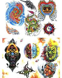 恶鬼头彩色手绘纹身图案