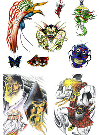 法师彩色手绘纹身图案