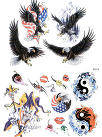 飞鹰彩色手绘纹身图案