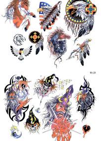 骏马彩色手绘纹身图案
