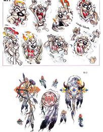 卡通狗彩色手绘纹身图案
