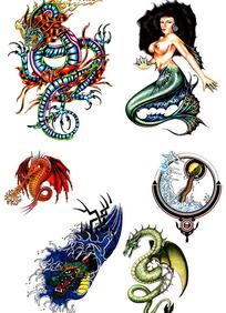 美人鱼彩色手绘纹身图案