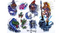 魔法师彩色手绘纹身图案