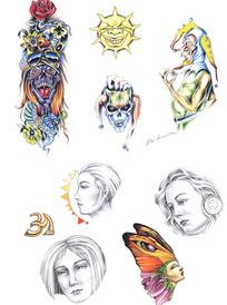 小丑彩色手绘纹身图案