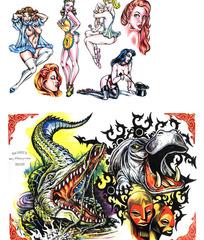 性感美女彩色手绘纹身图案