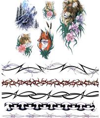 雄狮彩色手绘纹身图案