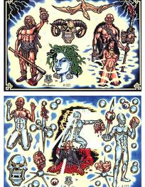 勇士彩色手绘纹身图案